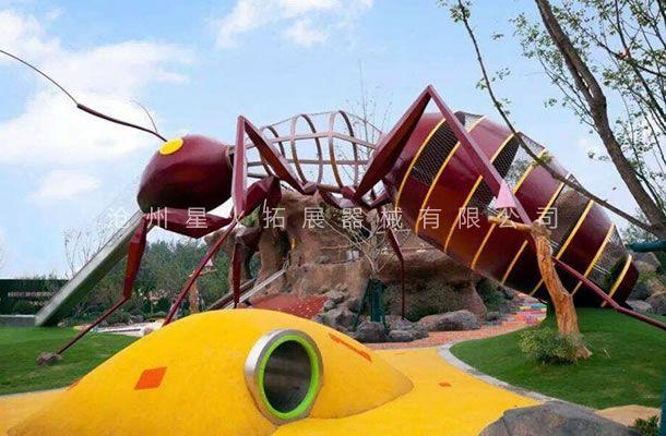 蚂蚁不锈钢滑梯-户外景观游乐设备-体能乐园厂家