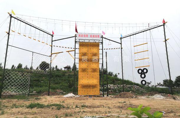 河北省沧州市海兴县粮心集团高空M1型拓展器械安装完成