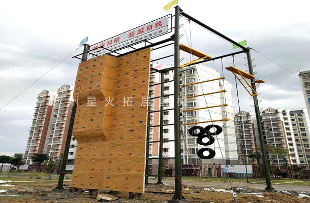 广西省白色市瀚翔教育拓展训练基地,高空四面体安装完工